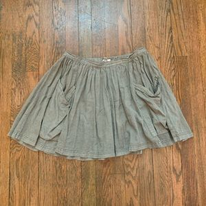 Olive Green Mini Skirt with Pockets